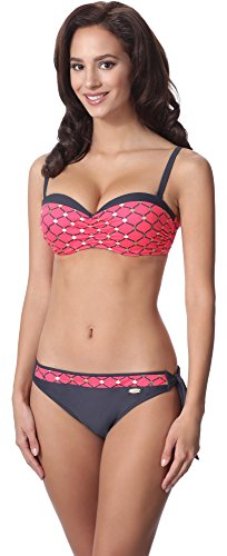 aQuarilla Damen Bikini Set AQ120(Graphit/Rot Fluo, 38)