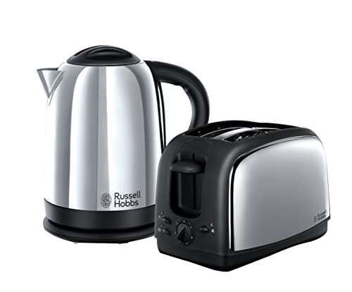 Russell Hobbs Lincoln Kettle and 2-Slice Toaster 21830 - Polished Stainless Steel Silver, Pack of 2
