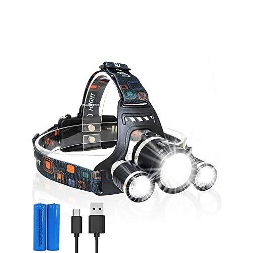 ZBQLKM Linternas de Faro LED de Alta Potencia, Resistente al Agua, LED Super Brillante, múltiples Modos de luz, Mejor Faros para Acampar, Correr, al Aire Libre, luz de Emergencia