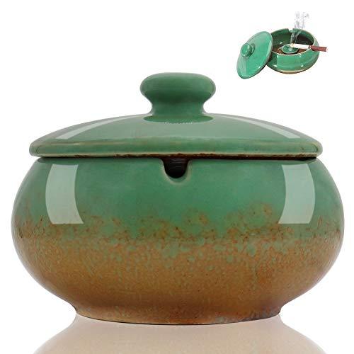 HONZUEN Posacenere Esterno in Ceramica con Coperchio, Portacenere Antivento Antiodore, Posaceneri Interni o Esterni Facile da Pulire Porta Cenere Ashtray per Giardino Ufficio Balcone Bar, Verde