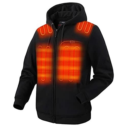 Venustas Heated Hoodie with Battery Pack (Unisex), Heated Hoodie for Men and Women Black