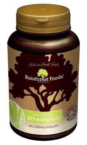 Rainforest Foods Organic New Zealand Wheatgrass Capsules 500mg Pack of 140