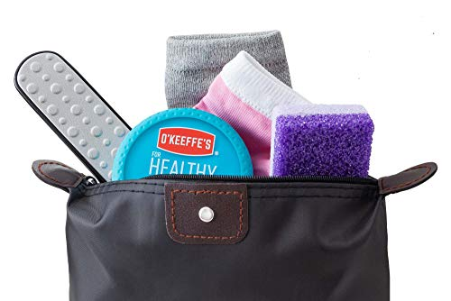 Dry Cracked Heel Treatment Repair System O'keefe's Healthy Feet Cream, Complete Callus Treatment With 2 Pair Silicone Gel Heel Socks Purple Pumice Pad and Foot Rasp