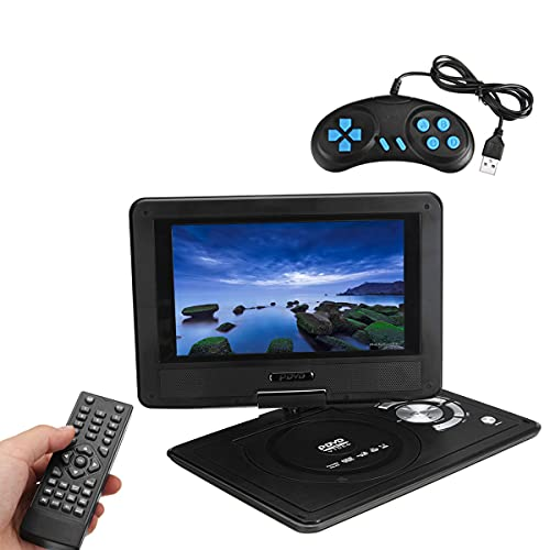 GEQWE Tragbarer 9,8-Zoll-DVD-Player Mit Schwenkbarem 270-Bildschirm, Integriertem 6-Stunden-Akku, Stereo-Sound, Ohne Region, Unterstützung Für USB/SD/AV-Ausgang Und -Eingang