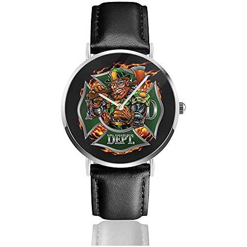 Feuerwehr Kobold Cybrog Uhren Quarz Lederuhr mit schwarzem Lederband für Sammlung Geschenk