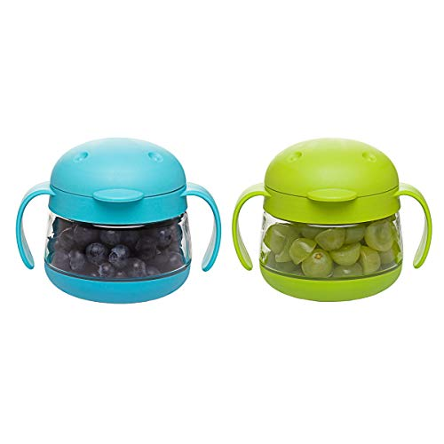 Ubbi Tweat No Spill 2 Pack Snack Container for Kids, BPA-Free, Toddler Snack Catcher, Green/Blue