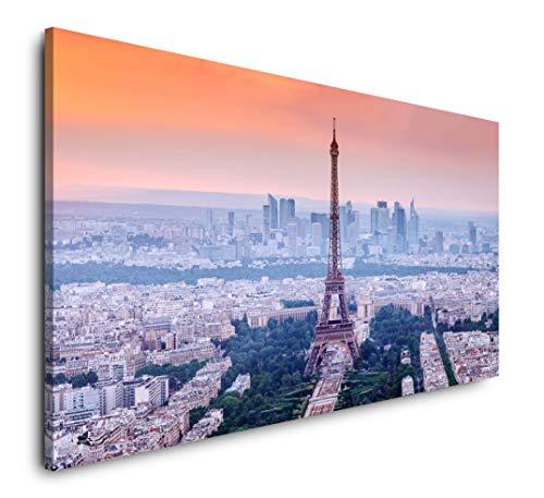Paul Sinus Art Eiffelturm in Paris 120x 60cm Panorama Leinwand Bild XXL Format Wandbilder Wohnzimmer Wohnung Deko Kunstdrucke