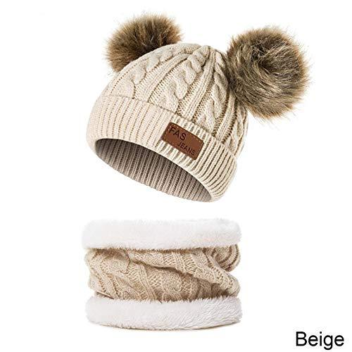 XCLWL mutsen voor dames, winter, sjaal, voor kinderen, meisjes, stof, eenkleurig, schattige pompon, dikke muts, velours, winter, warm, voor kinderen, muts, sjaal, pak voor 0-3 jaar