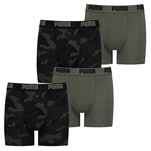 PUMA Jungen Boxershort Camo Alloverprint 128 140 152 164 176 95% Baumwolle ohne Eingriff Schwarz Blau Grün- 4er Pack, Größe:152, Farbauswahl:4X Army Green (002)