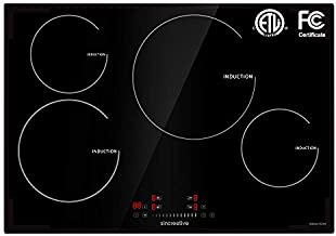 30 Inch Induction Cooktop, Electric Cooktop with 4 Burners Drop-in Electric Stove Top 240V Smoothtop Ceramic Glass Induction Burner with Timer, Kid Safety Lock, 9 Heating Level, ETL & FCC Certificated