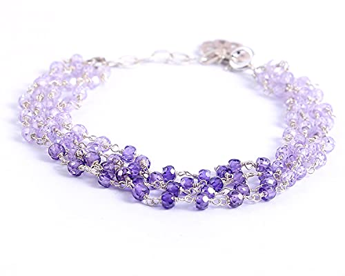 Ratnagarbha CZ Bracelets, Gift Idea for Friends, Adjustable Bracelet, Sterling Silver Jewelry, Cubic Zirconia Beaded Chain, CZ Blue Shaded Bracelet, Multicolored Cubic Zirconia, Multi Stone Bracelet