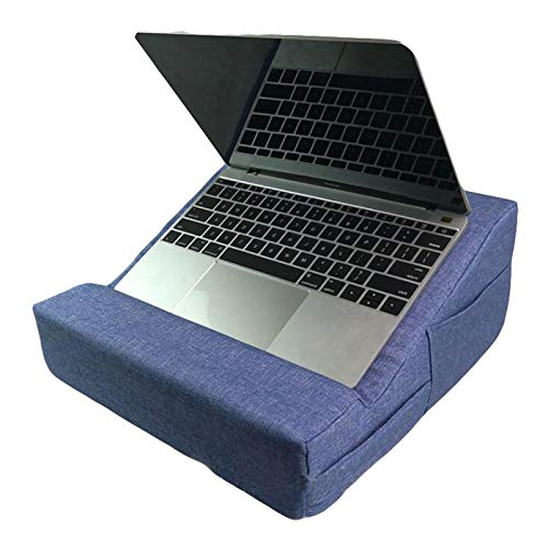 Qiraoxy Tablet Stand Laptop Holder Pillow Soft Laptop Rest Cushion with Pockets Imitated Hemp Laptop Cushion