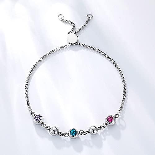 Kevin Bin Pulsera de Cristal Tricolor de Moda, Cadena de Mano Plata de Ley 925 para niñas, Mujeres, Adolescentes, Amistad, Regalo de cumpleaños