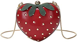 TOOGOO Cute Strawberry Heart Shape Pu Studs Fashion Lady Chain Wallet Clutch Bag Shoulder Bag Handbag White