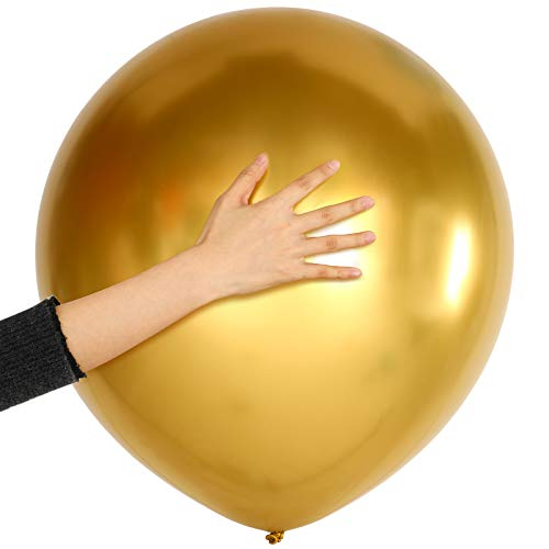 10 Piezas Globos Metálicos Dorados de 18 Pulgadas Globos de Látex Brillantes para Decoraciones de Fiesta de Boda Cumpleaños