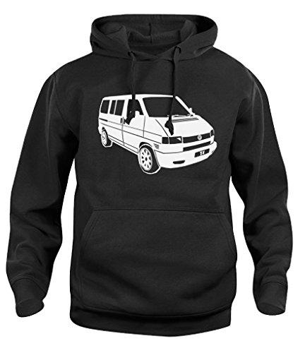 Herren Damen Kapuzenpullover VW T4 Campervan Camper Retro Van Hoody Sweatshirt Neu XS-XXL Gr. L, Schwarz