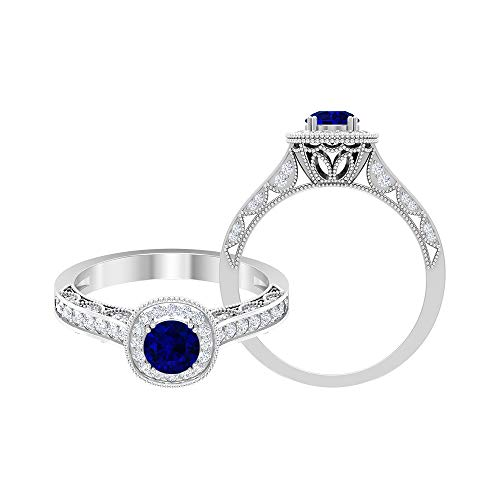 Anillo solitario de zafiro azul de 5,00 mm con acento de diamante HI-SI, anillo de compromiso vintage dorado (calidad AAA), 14K Oro blanco, zafiro azul, Size:EU 44