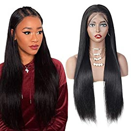 14″ straight Human Hair Lace Front Wigs for Black Women 150% Density 13×4 Lace Frontal Wigs Human Hair Pre Plucked with Baby Hair Natural Color