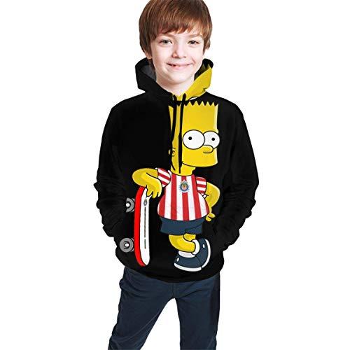 Sudadera con capucha para adolescentes y niños, de manga larga, con capucha, cómoda, para niño y niña, con diseño de Bart Simp-Son