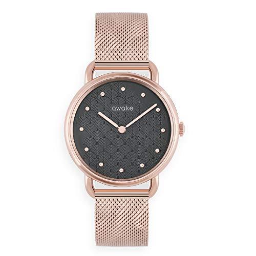 AWAKE – Reloj solar para mujer ecológico modelo ODYSSEE pluma – Impermeable 50 m – Marca francesa – Correa de malla – Diámetro 34 mm