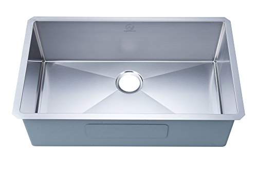 "Stufurhome NW-3219S Undermount Stainless Steel 32 In. Single Bowl Kitchen Sink, 32"", Satin"