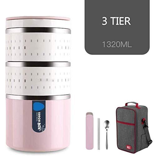 Potje 3 Lagen Soep Fles met handvat Thermos Geïsoleerde Stainless Steel Voedsel Kolven for warm eten Kids Lunch Container (Color : Pink)