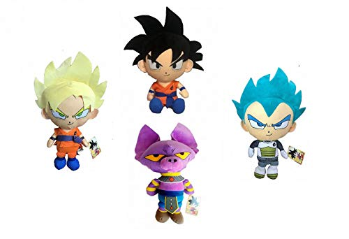Pack 4 Peluches Dragon Ball Super Son Goku Black y Super Saiyan, Vegeta, Beerus 25 CM