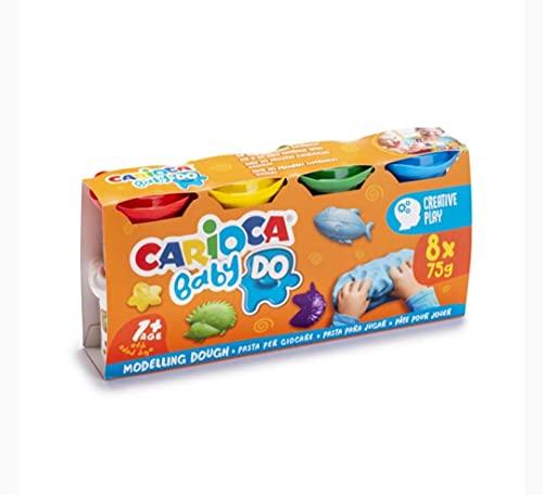 Carioca Baby Set di 8 paste da modellare, plastilina, pasta modellabile, Valida bebè e bambini di oltre 1 anno