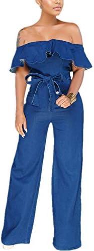 Women Fashion Denim Off Shoulder Ruffle Sleeve Solid Color Wide Leg Jean Jumpsuit Rompers Long product image