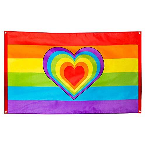 Boland 44721 - Polyester Fahne Regenbogen, bunt, Größe 90 x 150 cm, mit Metallösen, Herz, Christopher Street Day, Hippie, Homosexualität, Dekoration