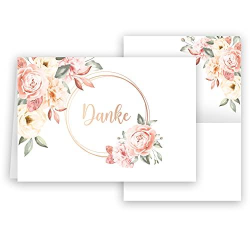 10 Danksagungskarten mit Umschlag Rosen Danke Dankeskarte Klappkarten Dankeschön Hochzeit Feier Jubiläum Feude Trauer Trauerkarten Danksagungskarte Anteilnahme Geschäftlich stilvoll