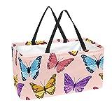 Bolsa de comestibles reutilizable grande, resistente bolsa de compras con parte inferior reforzada y asa (estampado de mariposas de nube)