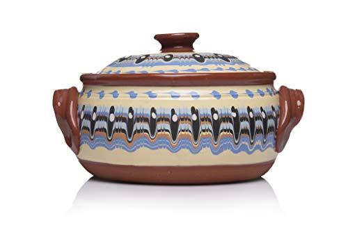 Zenis Cazuela búlgara de barro para cocinar, 3 L, 23 cm de diámetro, color blanco