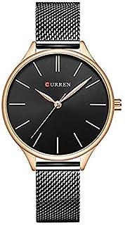 Curren 9024 Quartz Movement Round Dial Stainless Steel Strap Waterproof Women Wristwatch - Black