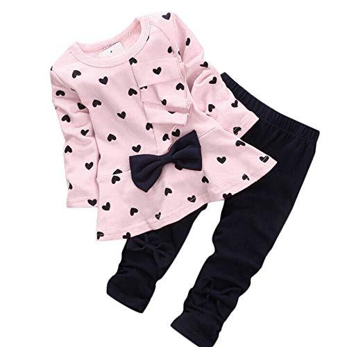 Xisimei Conjunto de ropa para bebé, camiseta y pantalones Rosa. 12 meses