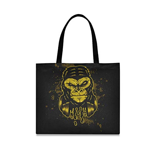 Golden Monkey Music Art Reusable Shopping Tote Grocery Foldable Bag Portable Storage Shoulder Bags Handbags for Travel Women Girls