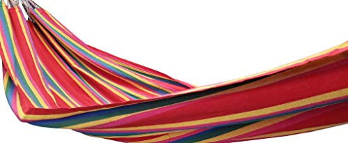 Hamaca colombiana hermosa y fuerte (55 pulgadas de ancho), color rojo (solo hamaca)