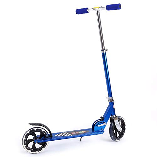 TRYSHA Verstelbare Folding Autoped Town Urban Stad Commuter push scooter met 200MM Wielen for volwassenen Teens (Color : Blue)