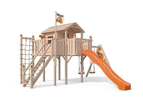 Terrizio XL-Spielturm Baumhaus mit Schaukelanbau und Sicherheitstreppe, Rutsche, Doppelschaukel, Kletternetz und Spielhaus auf 1,50 Meter Podesthöhe (Orange)