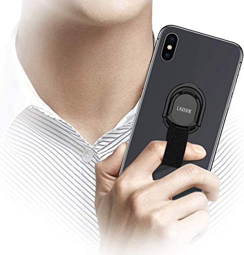 Loop Phone Holder Strap for Finger Grip with Inbuilt Car Magnet Mount and Ring Kickstand Phone Finger Holder Gripper for Back of Phone Case Support Wireless Charging & Magnetic Car Mount, Black