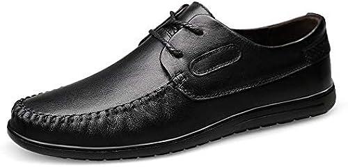EGS-schuhe Driving Loafer für Herren Stiefel Mokassins Schnürschuhe aus echtem Leder, atmungsaktiv, niedrige runde Zehen,Grille Schuhe (Farbe   Schwarz Größe   42 EU)