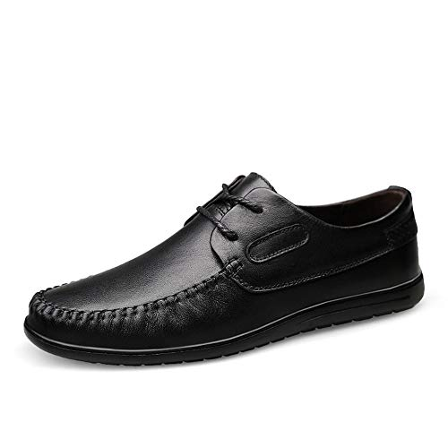 Best Price! Hilotu Men's Lace Up Loafers Business Leather Breathable Oxfords Low Top Solid Color Rou...