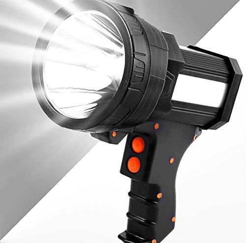 Foco de mano superbrillante 8000 lúmenes recargable 9600 mAh recargable LED de larga duración para caza con función de salida USB IPX4 impermeable