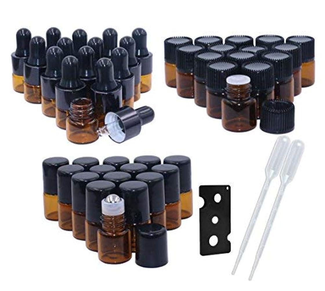 寝具迅速神のAmber Glass Essential Oil Bottles,1ml(1/4 Dram) 15 Pack,Kit Included:Stainless Steel Roller Ball Bottles,Eye Dropper Bottles,Aromatherapy Oil Bottles,2x Mini Droppers+1xOpener For DIY Sample Blends [並行輸入品]