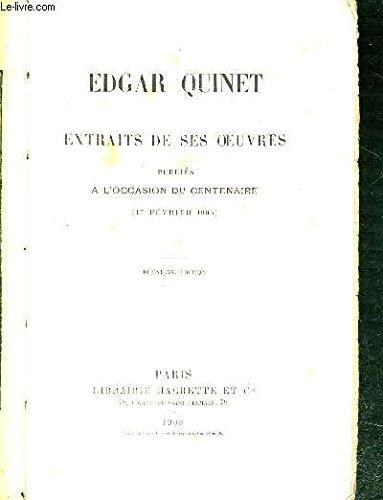 EXTRAITS DE SES OEUVRES PUBLIES A L'OCCASION DU CENTENAIRE (17 FEVRIER 1903)