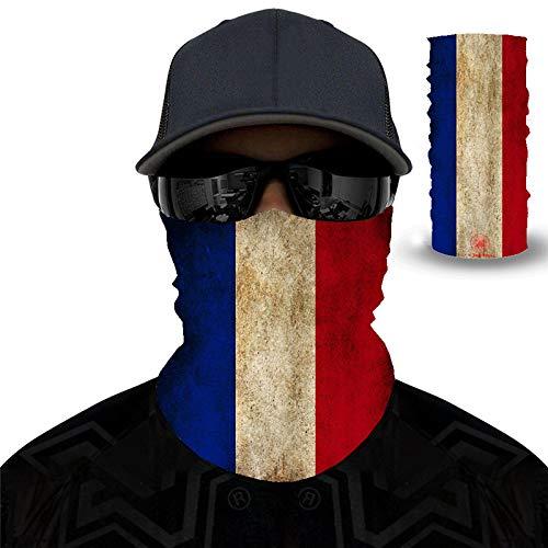 PAWANG Magic 3D Bufanda sin Costuras Canadá Japón Francia Italia España Corea del Sur Brasil Bandera Decoración de Cara de Halloween 50x25cm