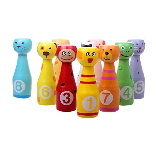 NiceButy Mini-Bowling-Spiel Set Kinder Holz Bowling Spiele Set Enthält 10 Holzstifte Und 3 Bowlingkugeln - Best Desk Spielzeug, Tischspiele Für Kleinkinder
