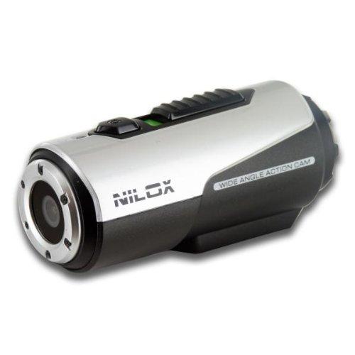 Nilox Tube Bullet Action Cam, Completa di Accessori, Impermeabile, Argento