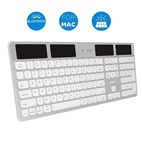 Macally - Teclado Solar inalámbrico Bluetooth para Mac Mini/Pro, Ordenadores de sobremesa iMac y portátiles Apple MacBook Pro/Air,...
