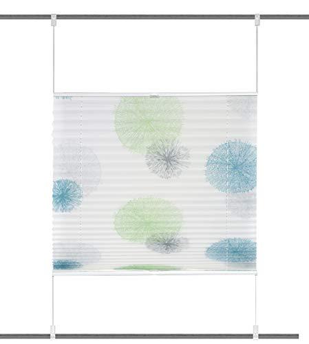 Clever-Kauf-24 GmbH Klemmfix Plissee Rawlins grün blau | Up an Down | 8 Verschiedene Größen | (BxH 90x130cm)